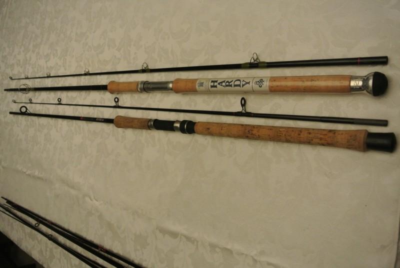 Hardy Fibalite spinning rod and Daiwa Carba Regal spinning rod.
